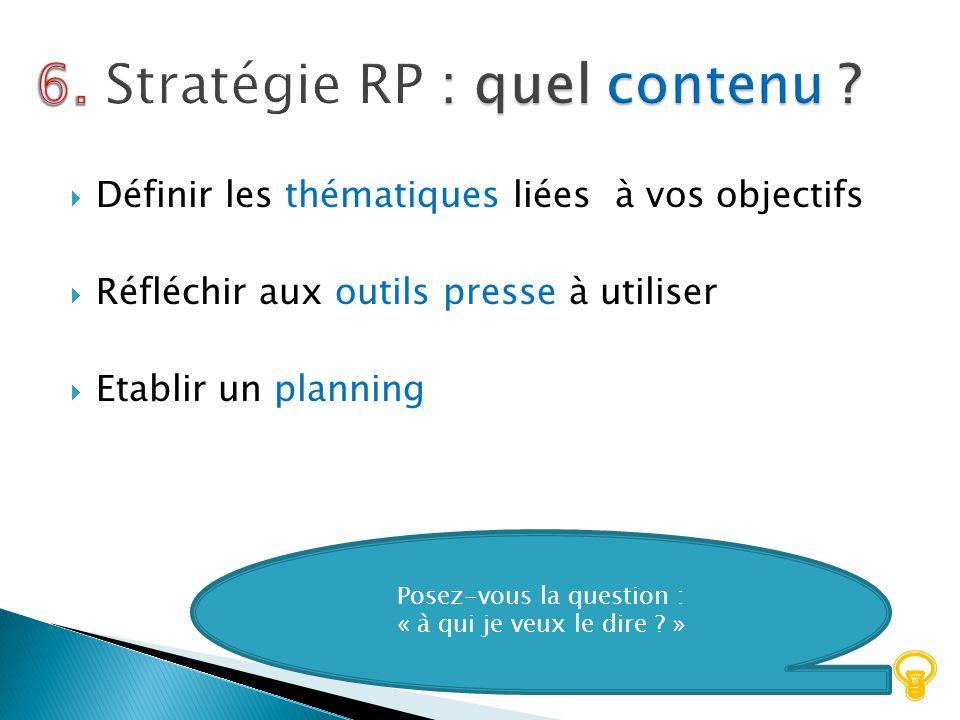 6. Stratégie RP : quel contenu