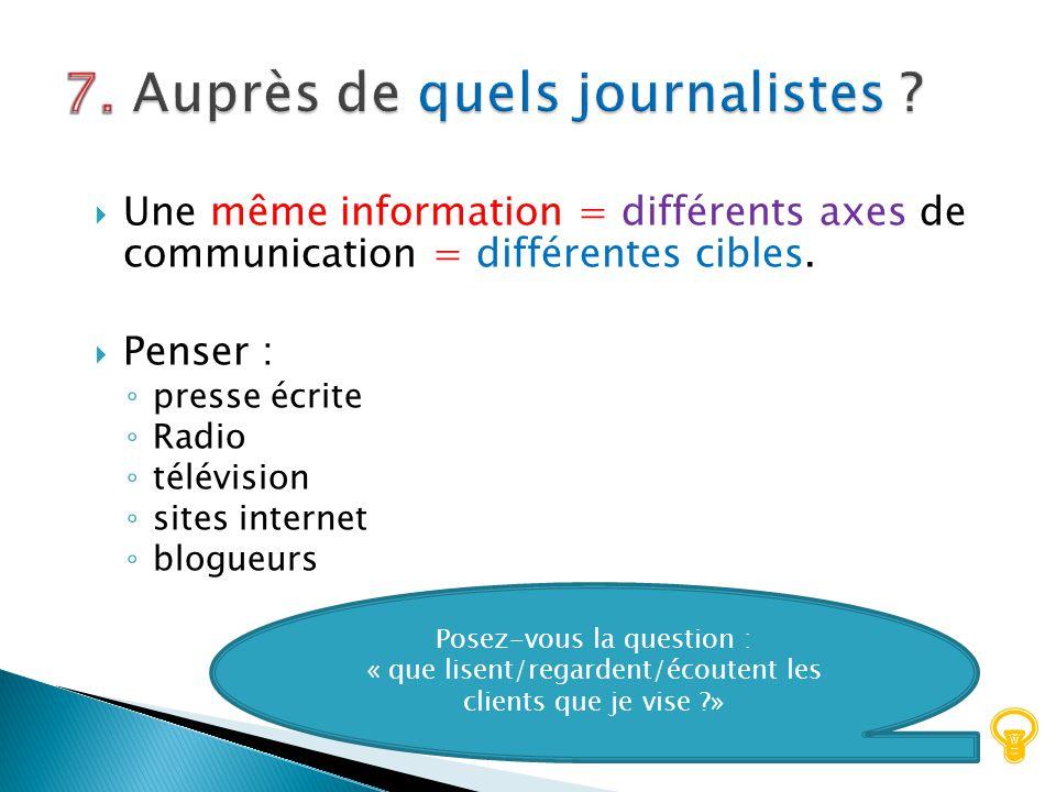 7. Auprès de quels journalistes