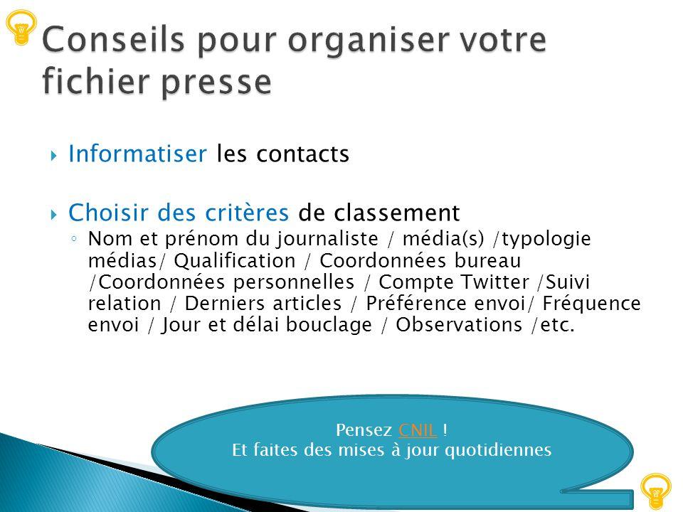 Conseils pour organiser votre fichier presse