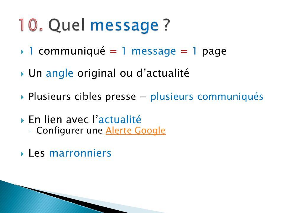 10. Quel message 1 communiqué = 1 message = 1 page