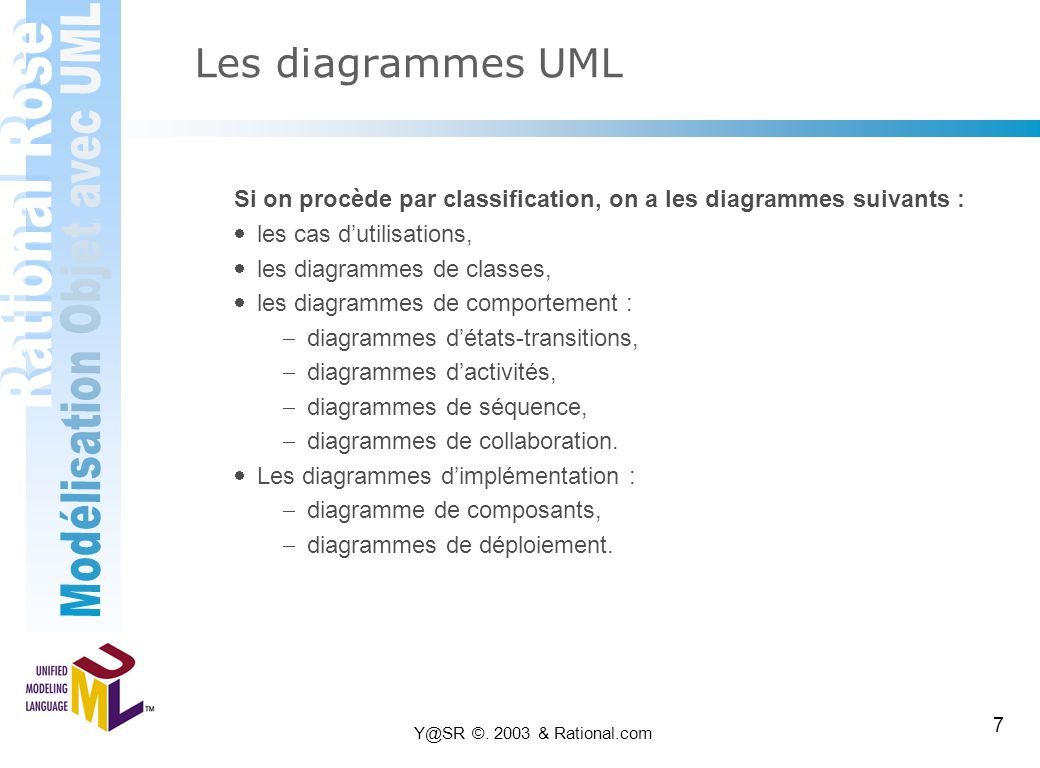 Les diagrammes UML Si on procède par classification, on a les diagrammes suivants : · les cas d'utilisations,