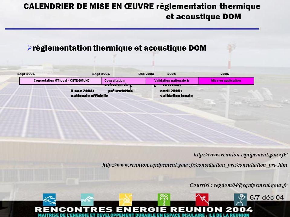 CALENDRIER DE MISE EN ŒUVRE réglementation thermique et acoustique DOM