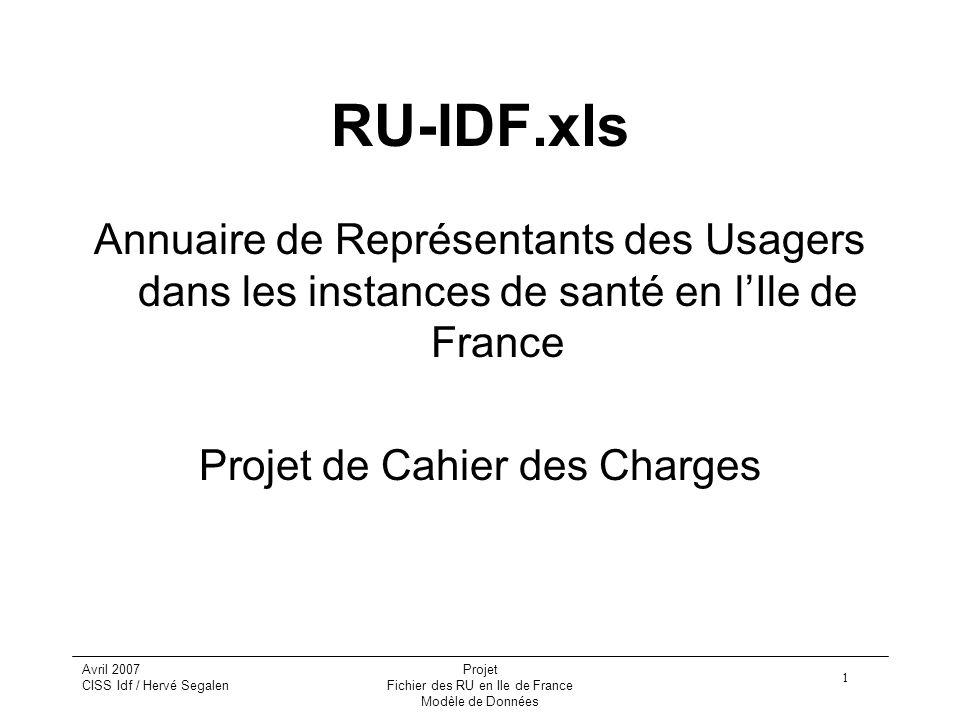RU-IDF.xls Annuaire de Représentants des Usagers dans les instances de santé en l'Ile de France. Projet de Cahier des Charges.