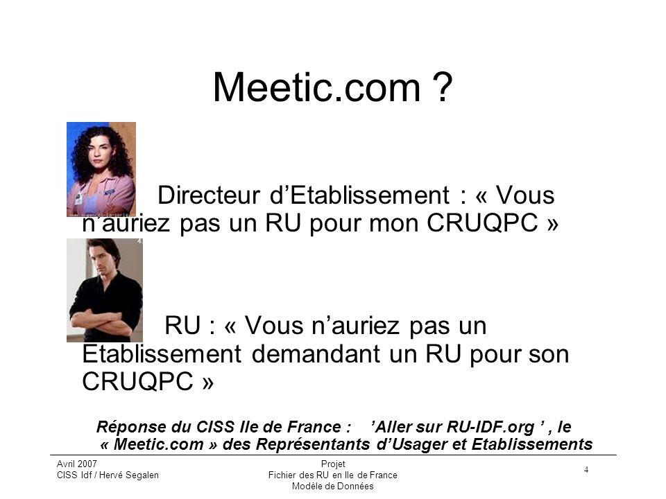 Fichier des RU en Ile de France