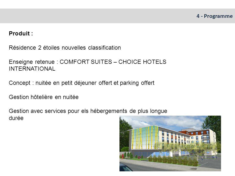 4 - Programme Produit : Résidence 2 étoiles nouvelles classification. Enseigne retenue : COMFORT SUITES – CHOICE HOTELS INTERNATIONAL.