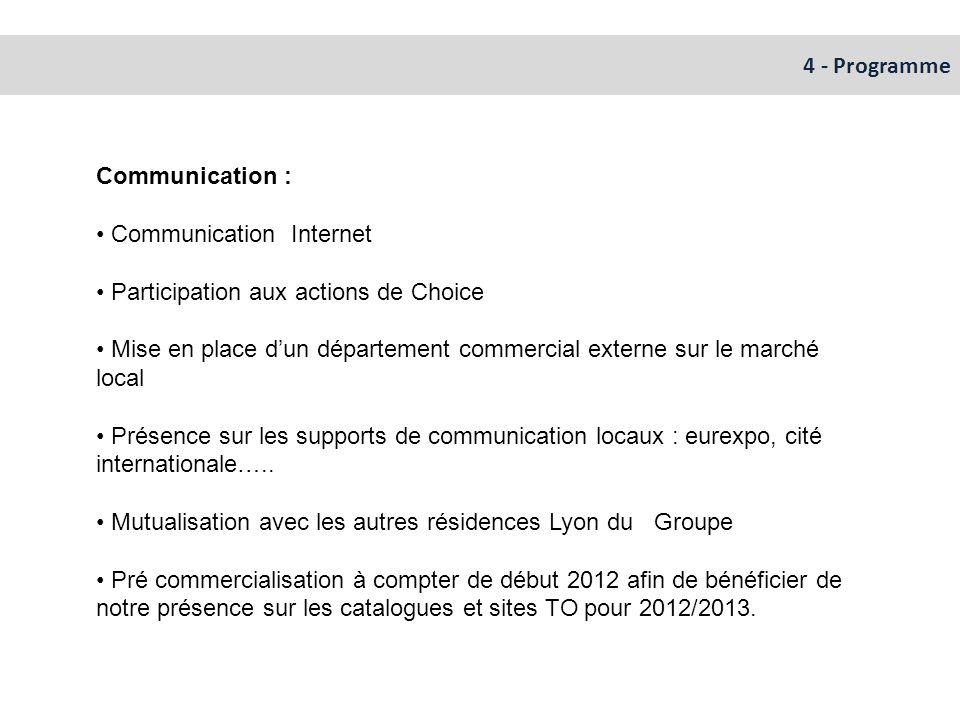 4 - Programme Communication : Communication Internet. Participation aux actions de Choice.