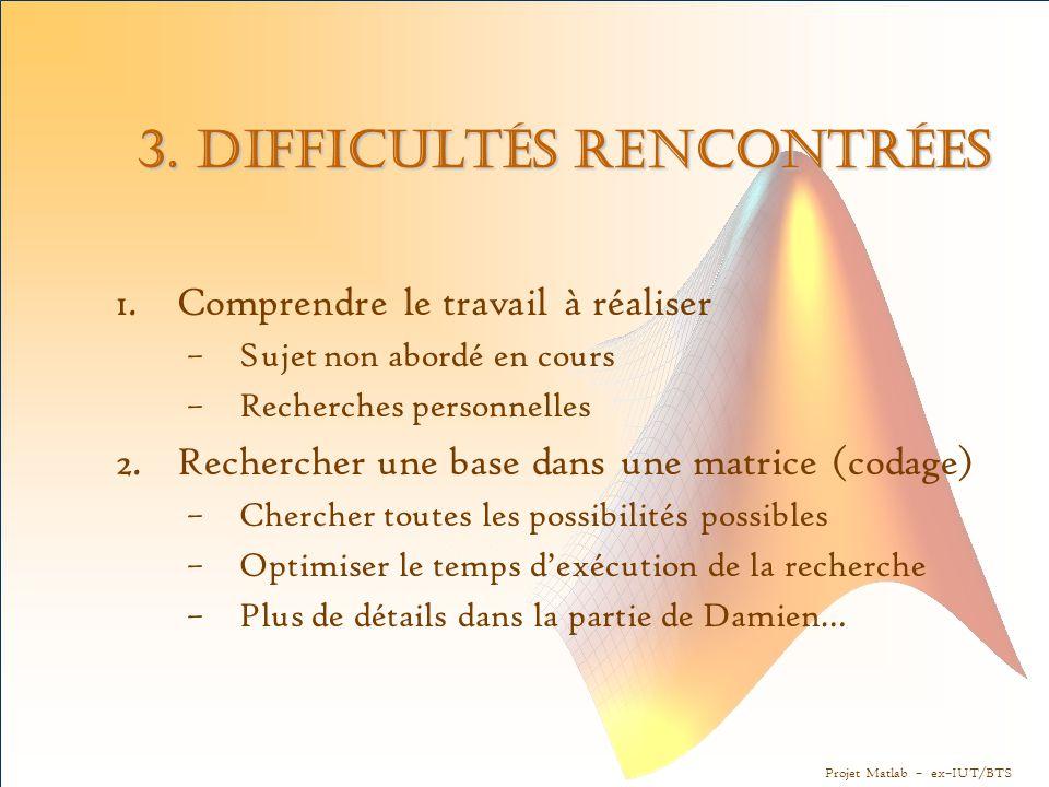 3. Difficultés rencontrées