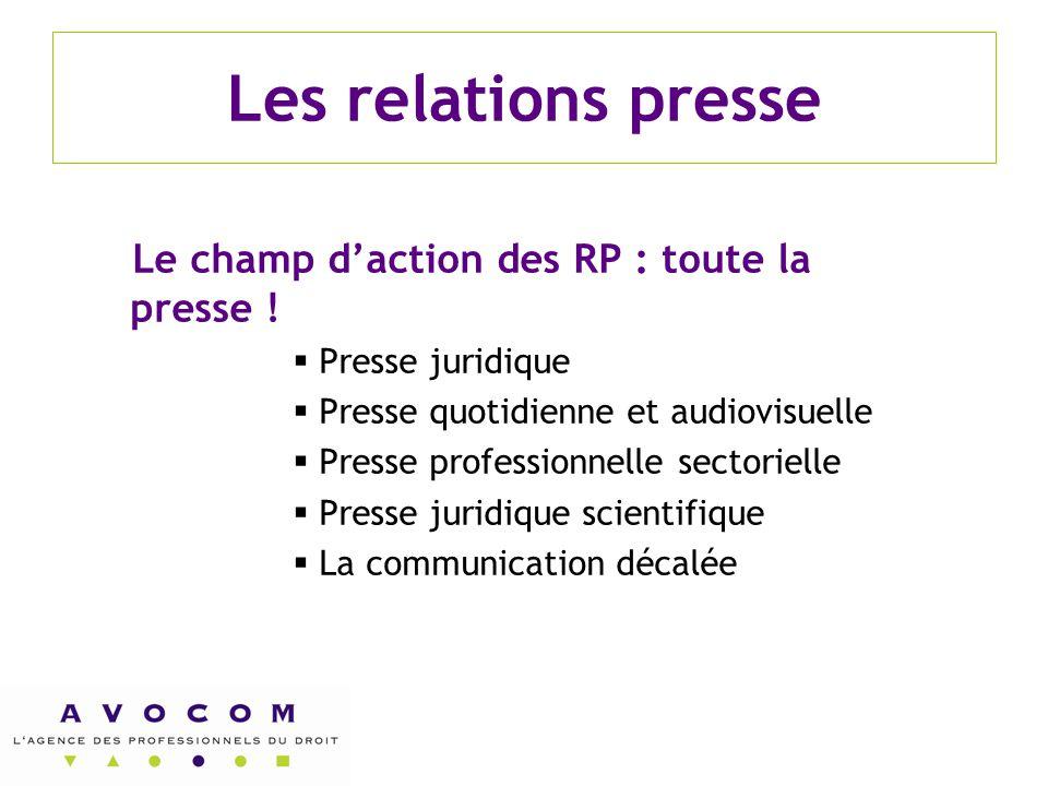 Les relations presse Le champ d'action des RP : toute la presse !