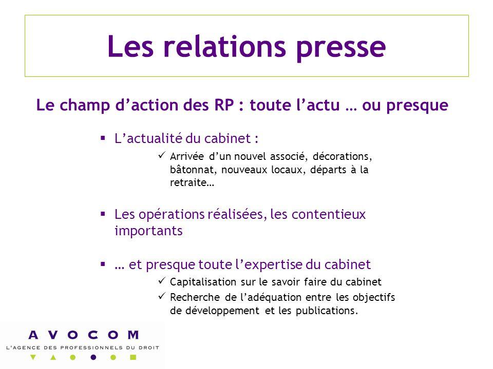 Les relations presse Le champ d'action des RP : toute l'actu … ou presque. L'actualité du cabinet :