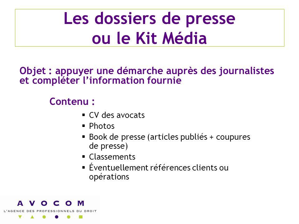 Les dossiers de presse ou le Kit Média