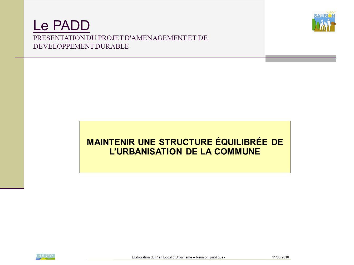 MAINTENIR UNE STRUCTURE ÉQUILIBRÉE DE L'URBANISATION DE LA COMMUNE