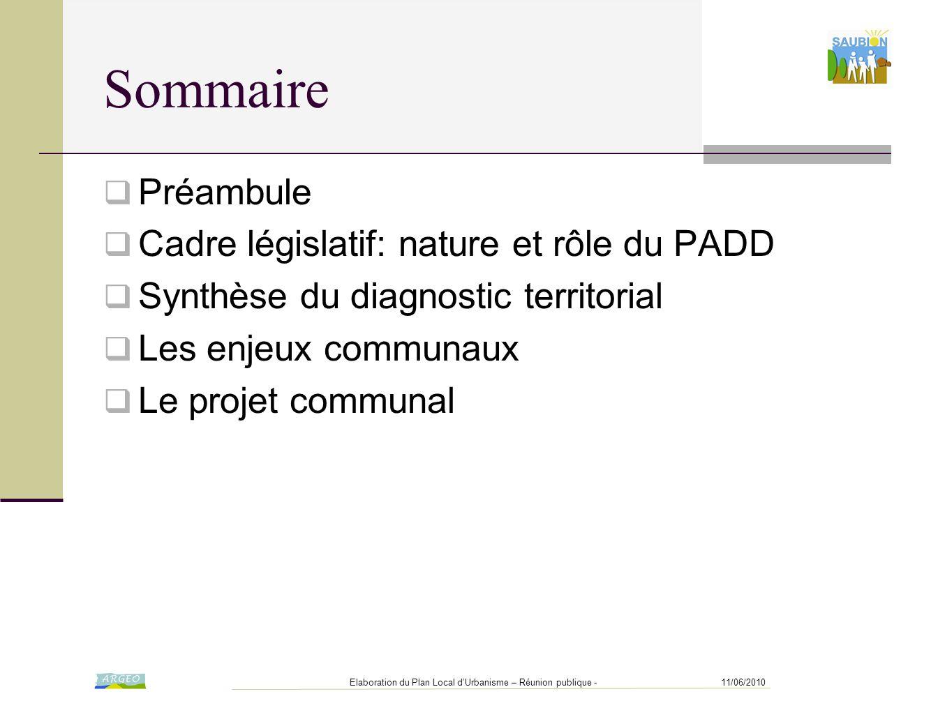 Sommaire Préambule Cadre législatif: nature et rôle du PADD