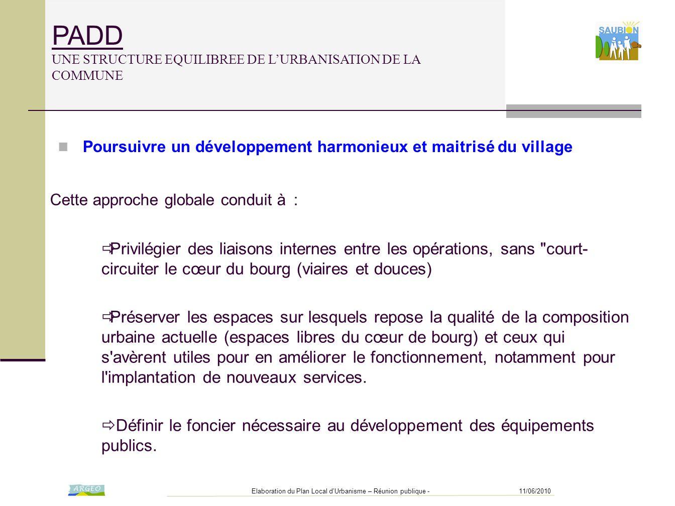 PADD UNE STRUCTURE EQUILIBREE DE L'URBANISATION DE LA COMMUNE
