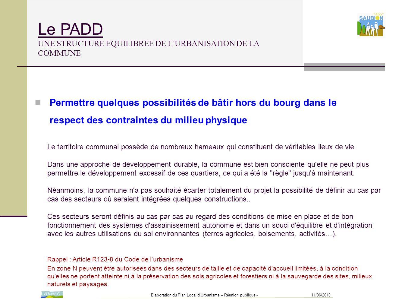 Le PADD UNE STRUCTURE EQUILIBREE DE L'URBANISATION DE LA COMMUNE