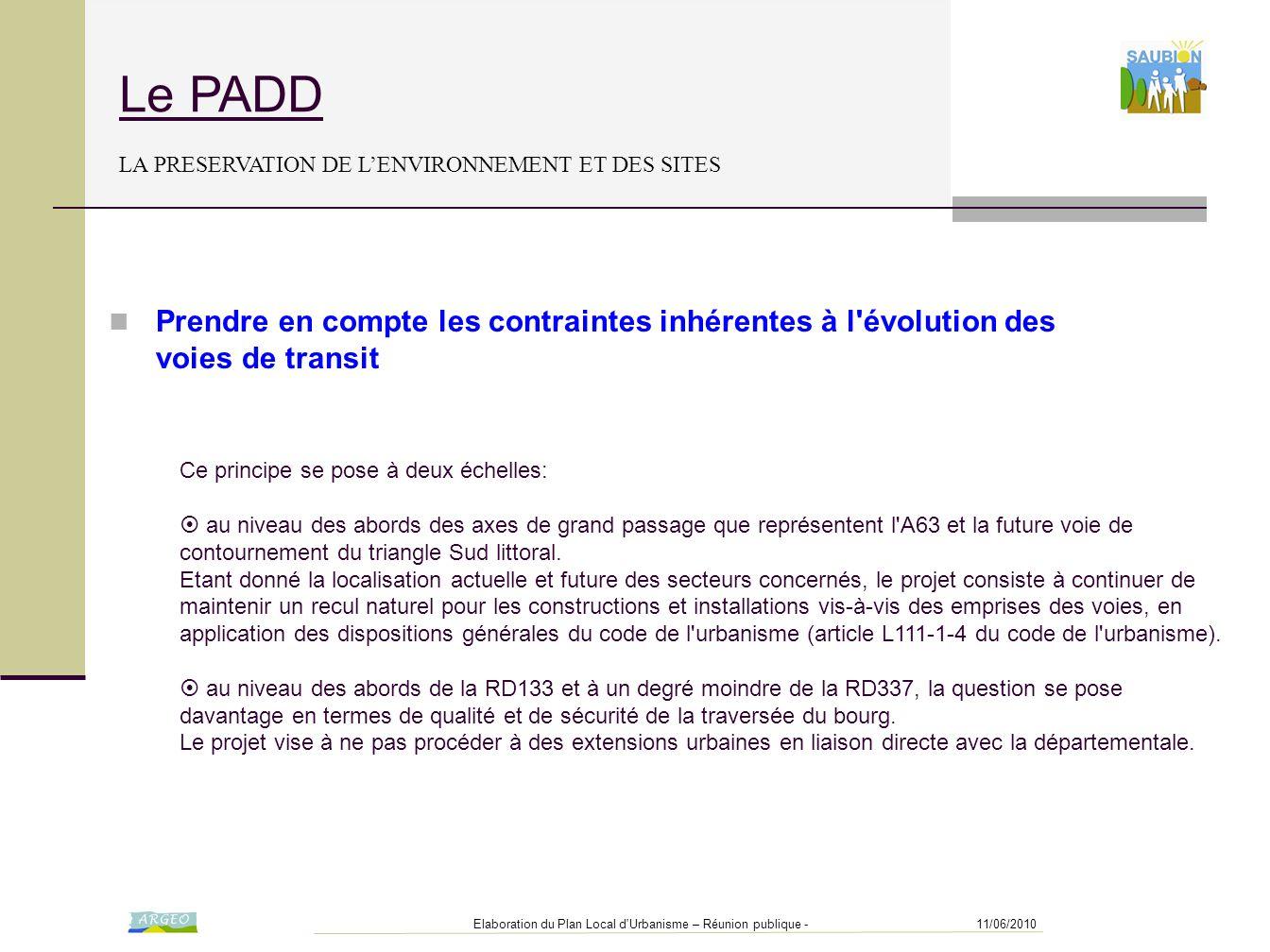 Le PADD LA PRESERVATION DE L'ENVIRONNEMENT ET DES SITES