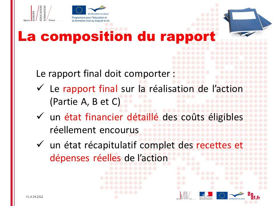 La composition du rapport
