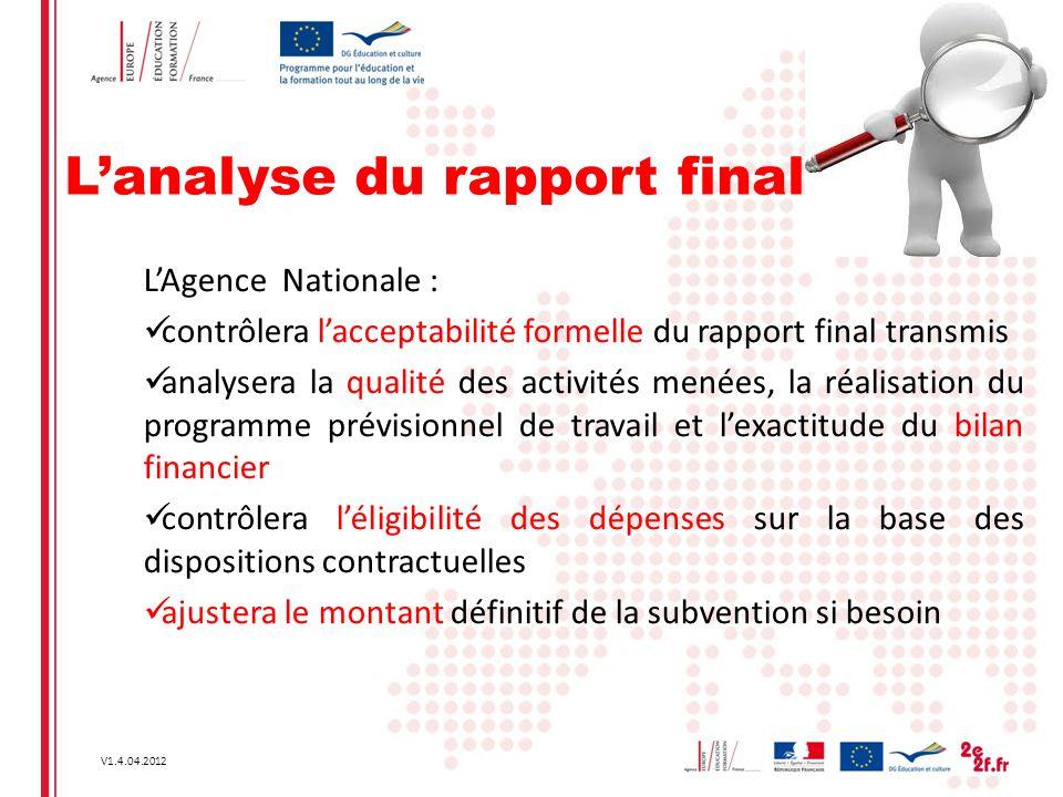 L'analyse du rapport final