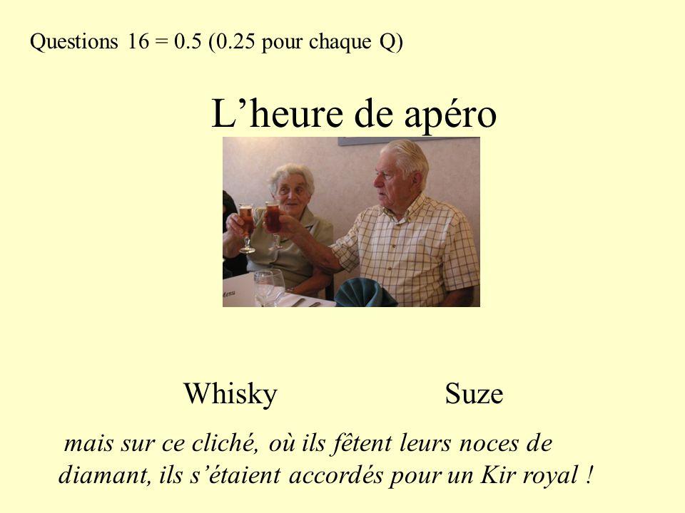 L'heure de apéro Whisky Suze Questions 16 = 0.5 (0.25 pour chaque Q)