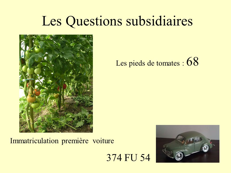 Les Questions subsidiaires