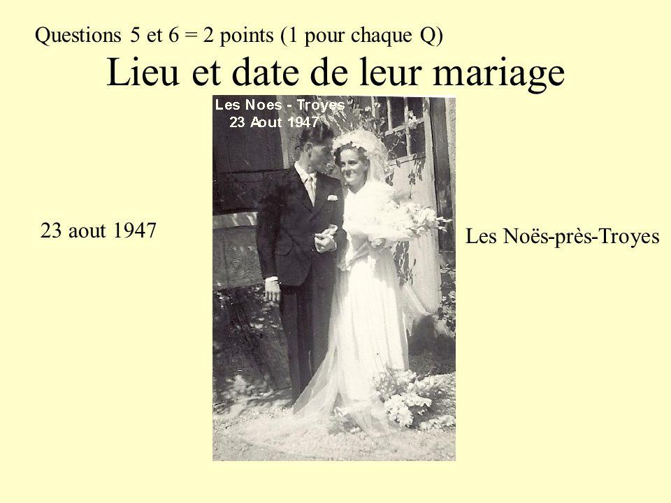 Lieu et date de leur mariage