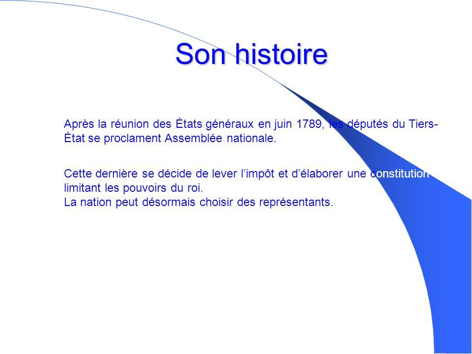 Son histoire Après la réunion des États généraux en juin 1789, les députés du Tiers-État se proclament Assemblée nationale.
