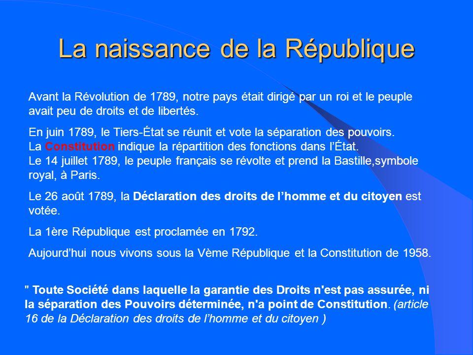 La naissance de la République