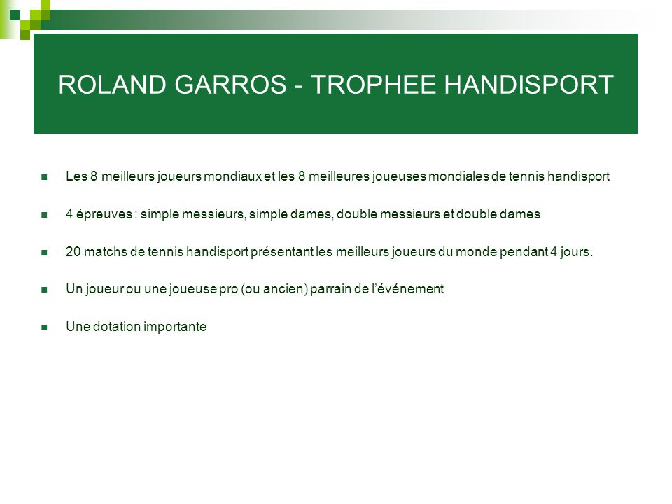 ROLAND GARROS - TROPHEE HANDISPORT