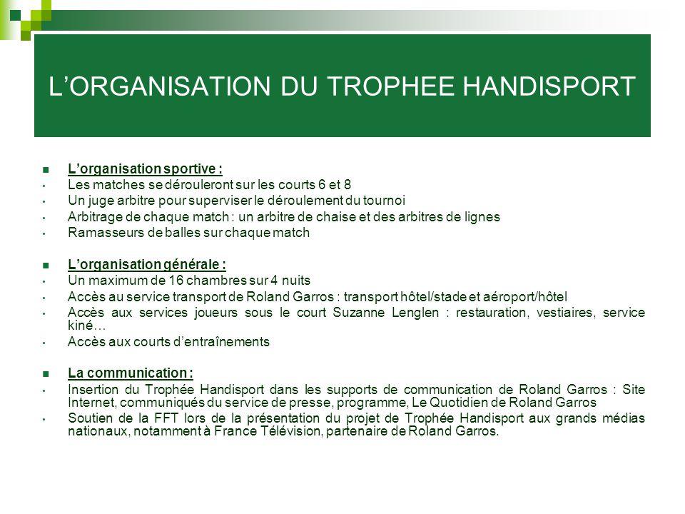 L'ORGANISATION DU TROPHEE HANDISPORT
