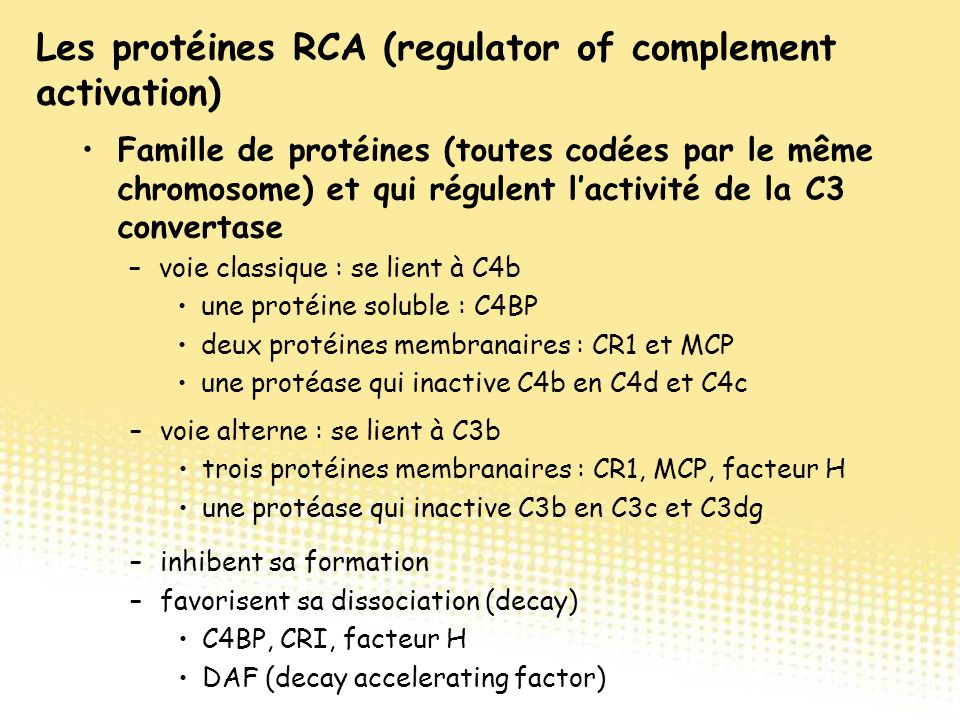 Les protéines RCA (regulator of complement activation)