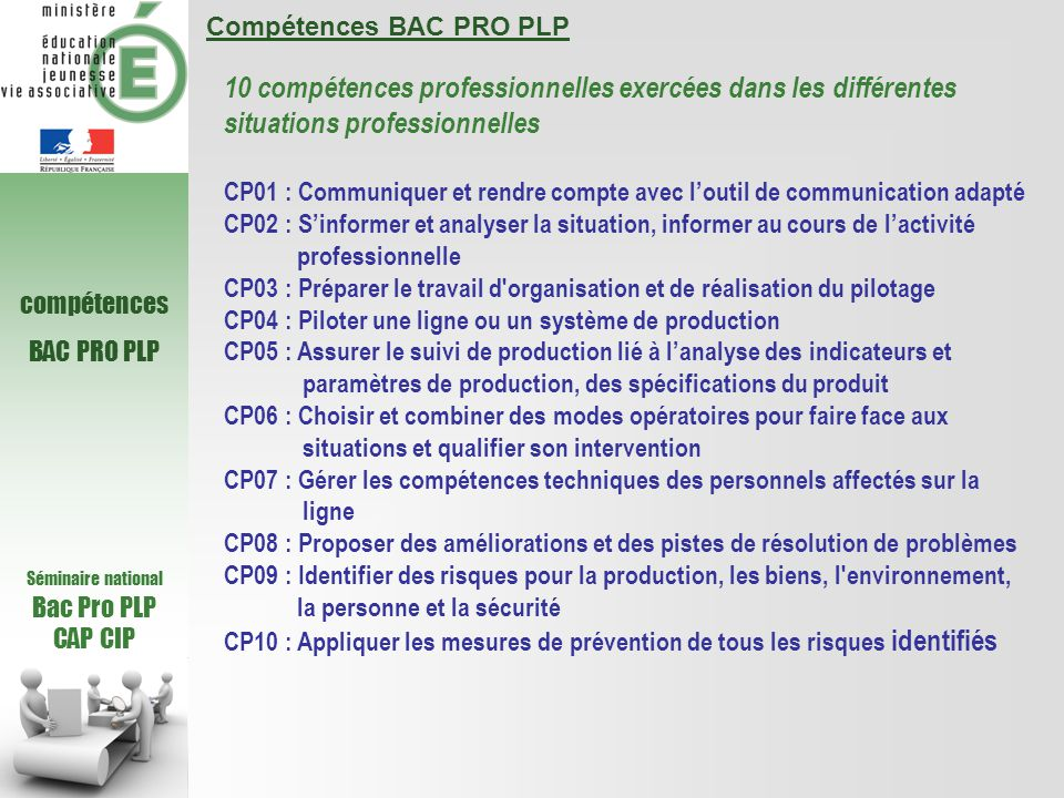 Compétences BAC PRO PLP
