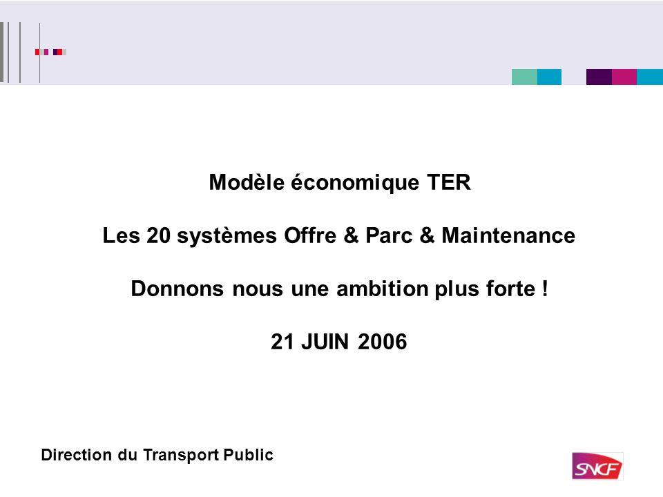 Modèle économique TER Les 20 systèmes Offre & Parc & Maintenance Donnons nous une ambition plus forte ! 21 JUIN 2006