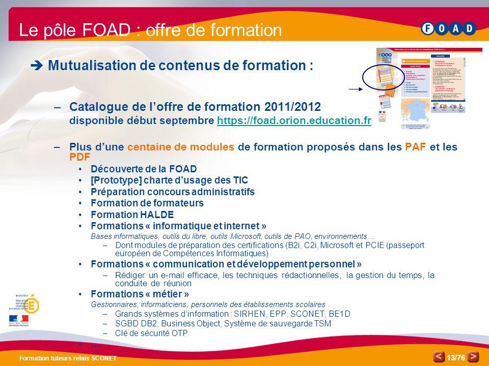 Le pôle FOAD : offre de formation