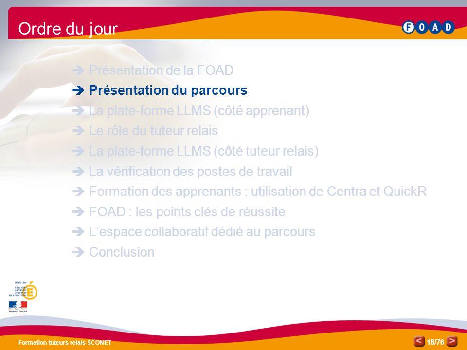 Ordre du jour Présentation de la FOAD Présentation du parcours