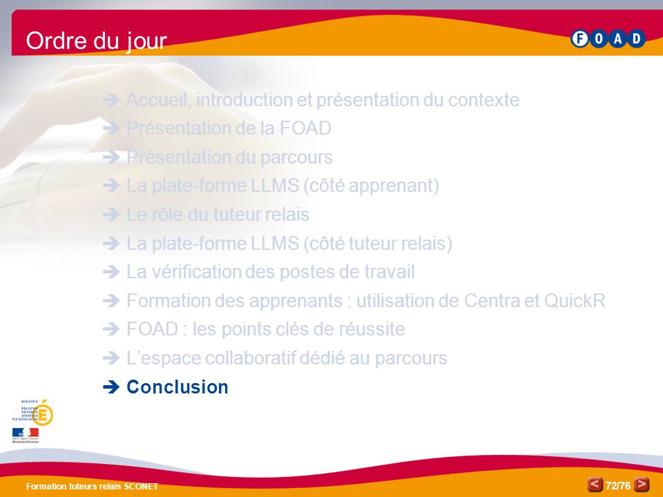 Ordre du jour Accueil, introduction et présentation du contexte