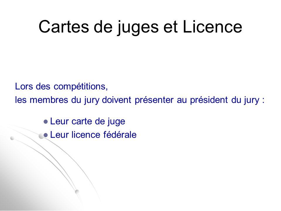 Cartes de juges et Licence