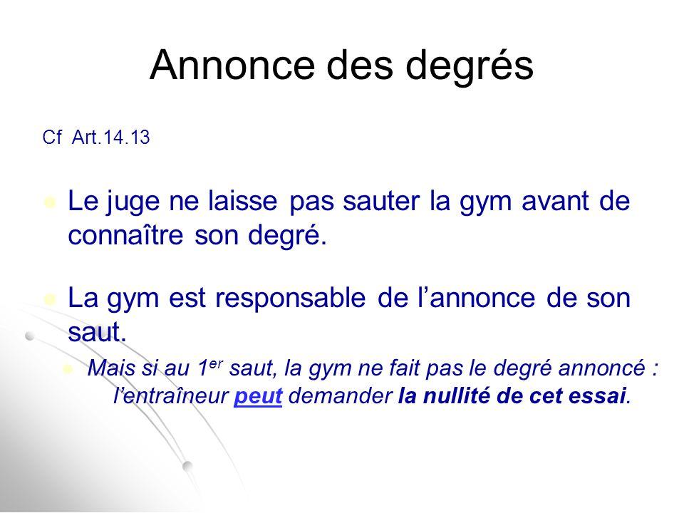 Annonce des degrés Cf Art.14.13. Le juge ne laisse pas sauter la gym avant de connaître son degré.