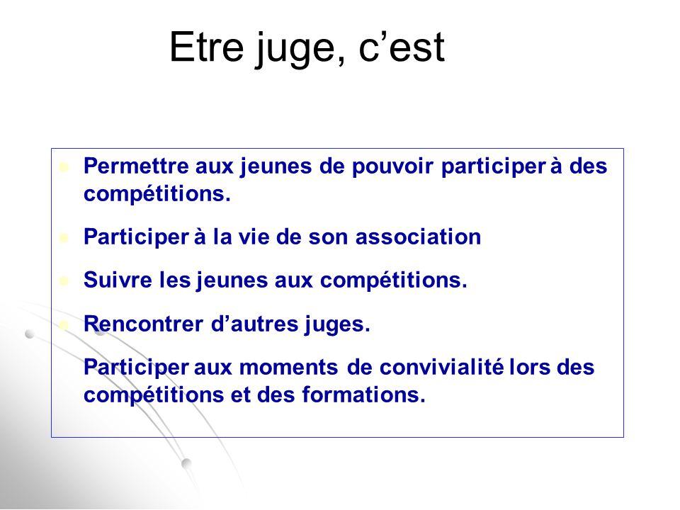 Etre juge, c'est Permettre aux jeunes de pouvoir participer à des compétitions. Participer à la vie de son association.