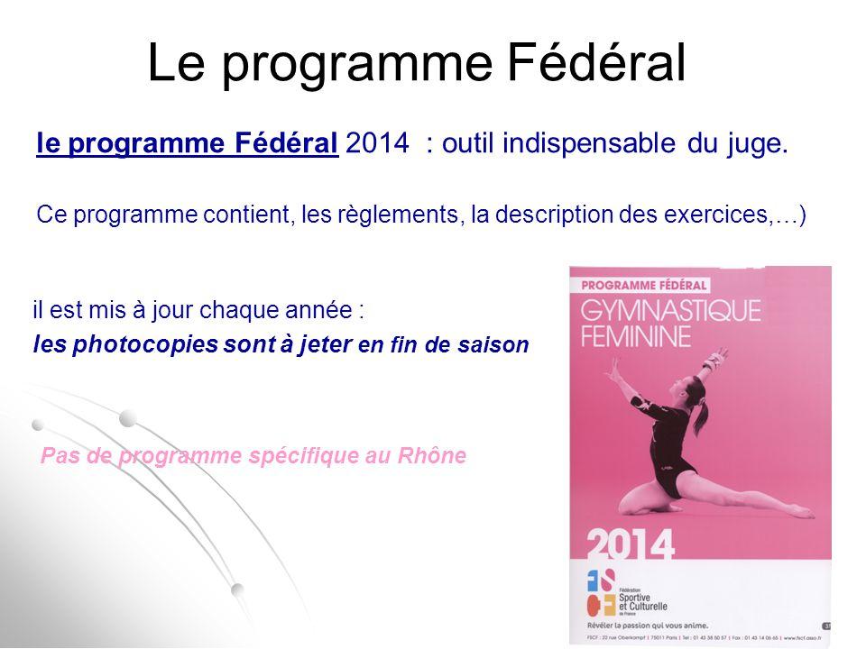 Le programme Fédéral Pas de programme spécifique au Rhône