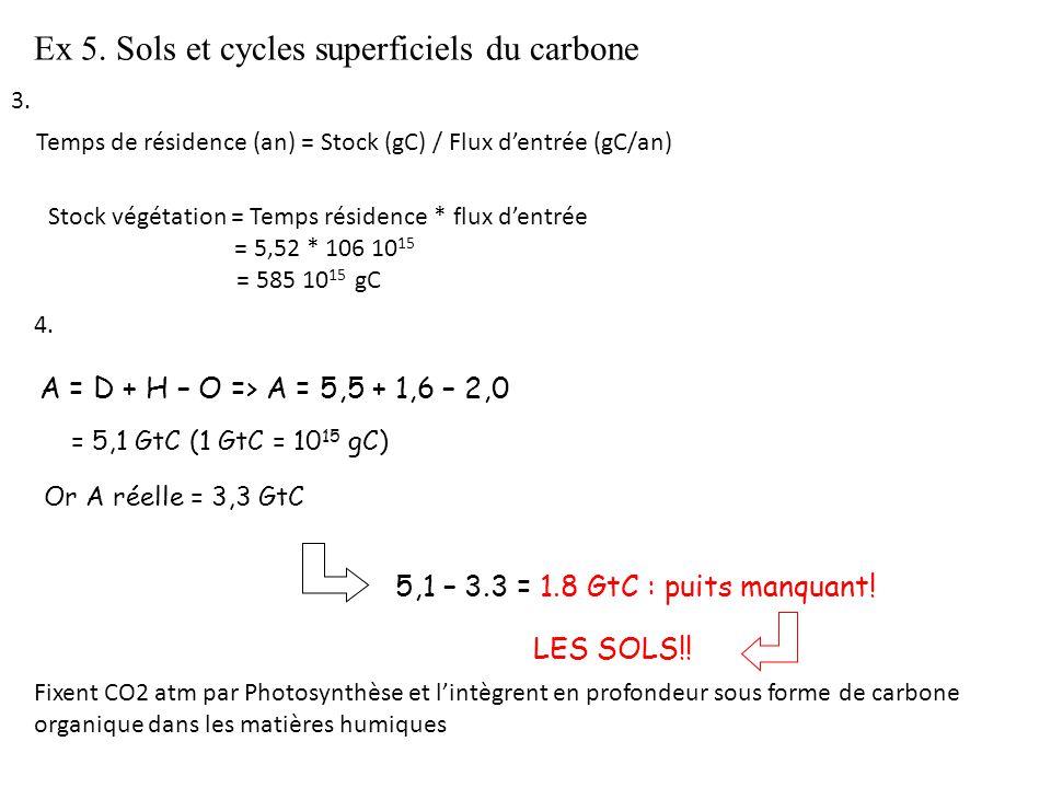 Ex 5. Sols et cycles superficiels du carbone