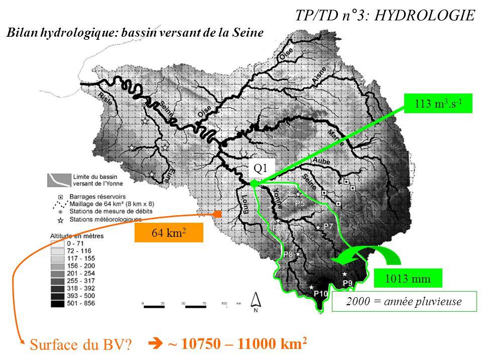 TP/TD n°3: HYDROLOGIE Surface du BV  ~ 10750 – 11000 km2