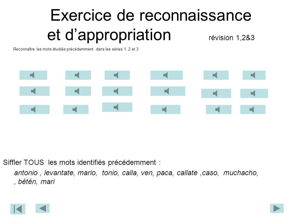 Exercice de reconnaissance et d'appropriation révision 1,2&3