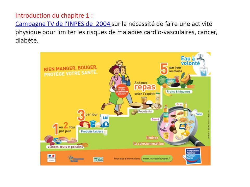 Introduction du chapitre 1 : Campagne TV de l'INPES de 2004 sur la nécessité de faire une activité physique pour limiter les risques de maladies cardio-vasculaires, cancer, diabète.