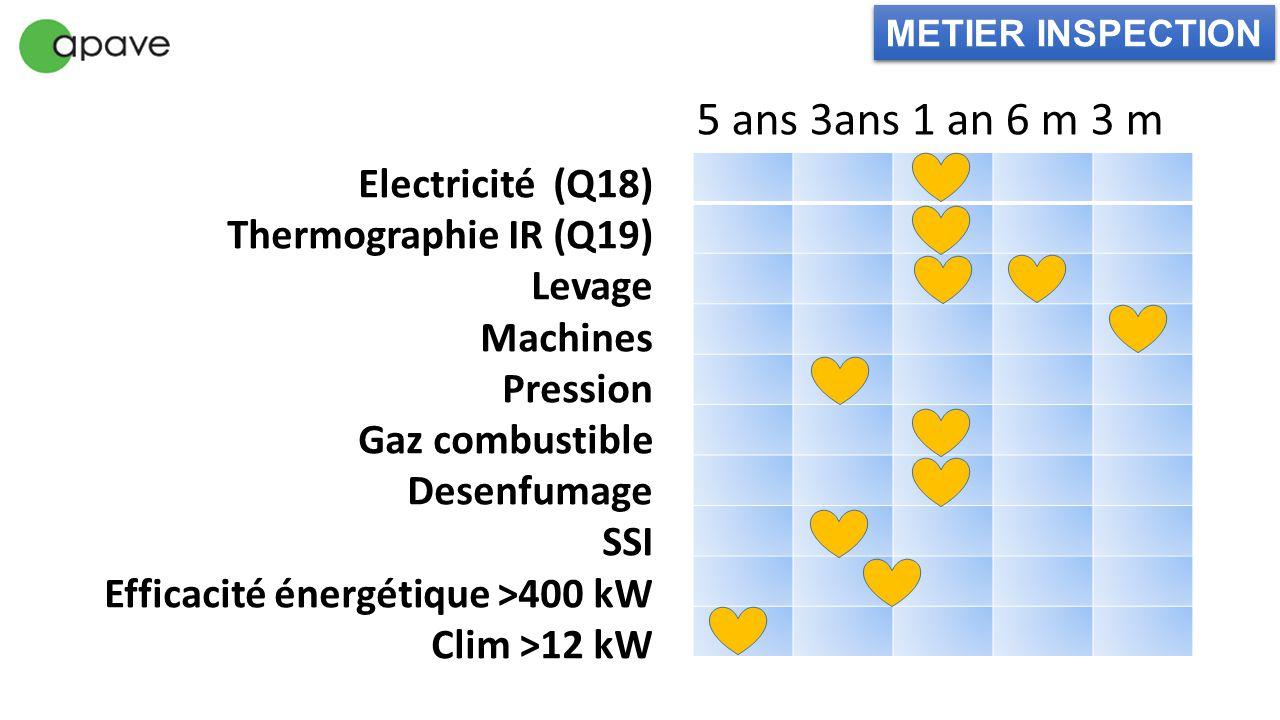 5 ans 3ans 1 an 6 m 3 m Electricité (Q18) Thermographie IR (Q19)