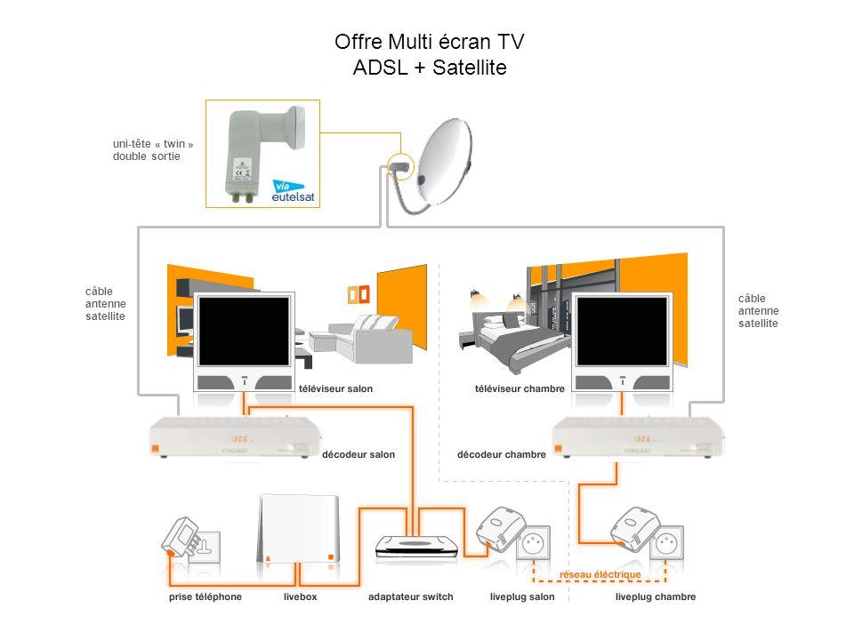 Offre Multi écran TV ADSL + Satellite uni-tête « twin » double sortie