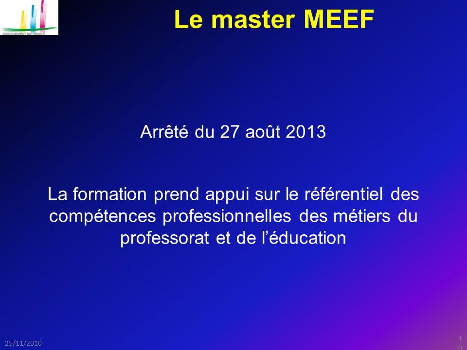 Le master MEEF Arrêté du 27 août 2013