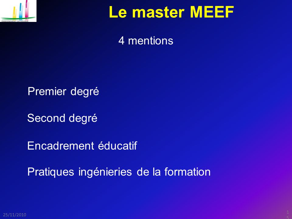Le master MEEF 4 mentions Premier degré Second degré