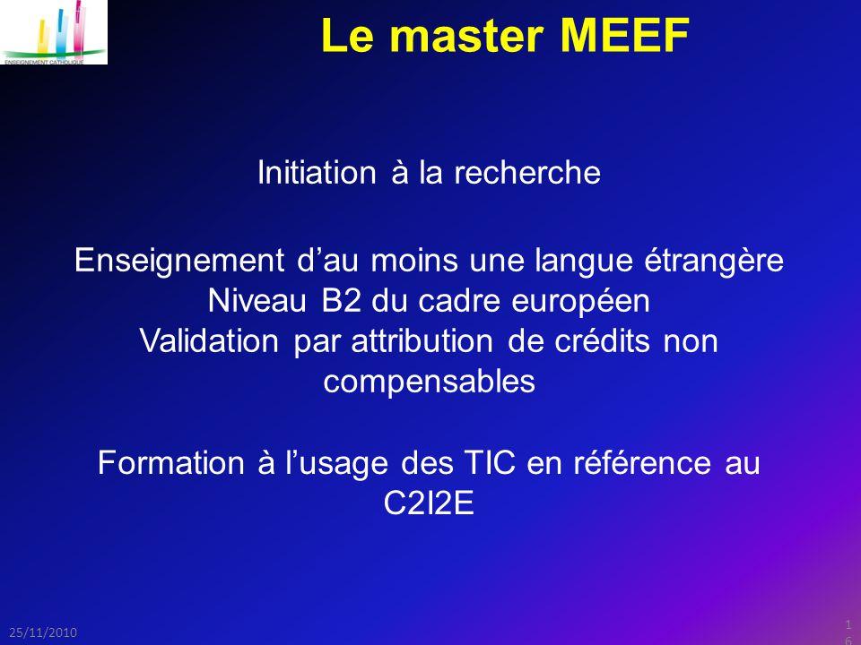 Le master MEEF Initiation à la recherche