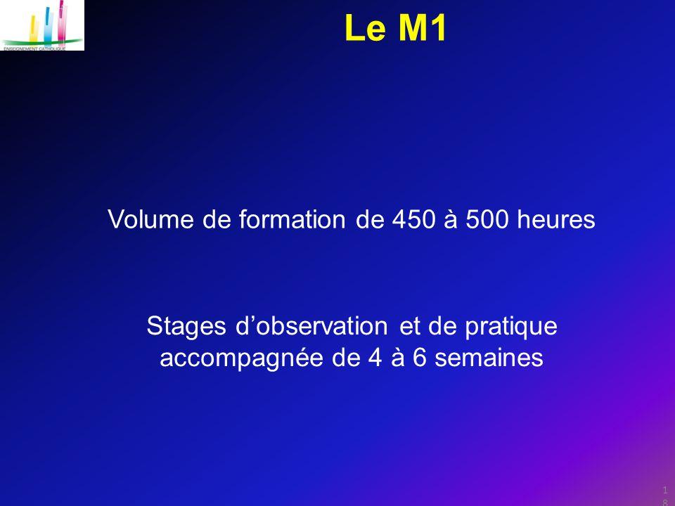 Le M1 Volume de formation de 450 à 500 heures