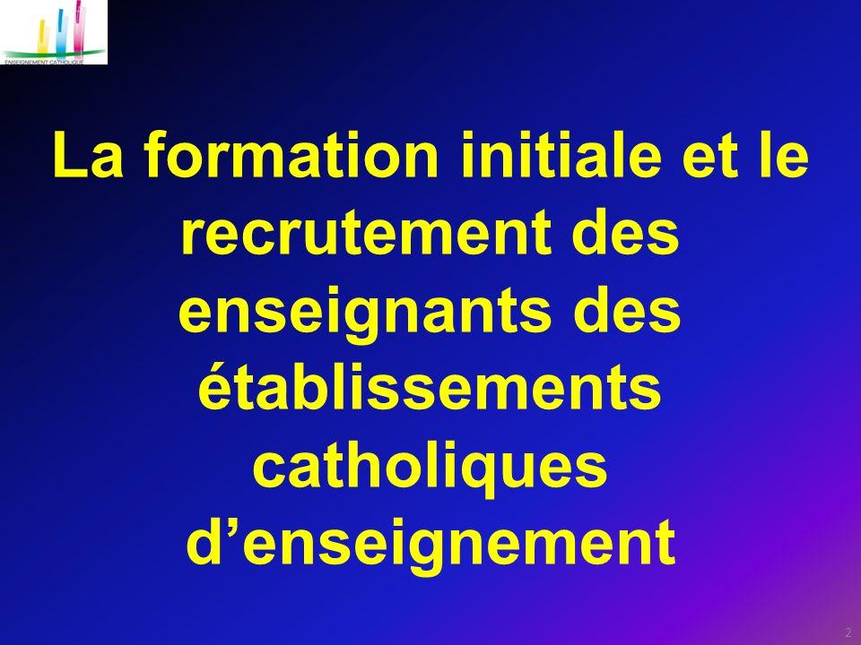 La formation initiale et le recrutement des enseignants des établissements catholiques d'enseignement