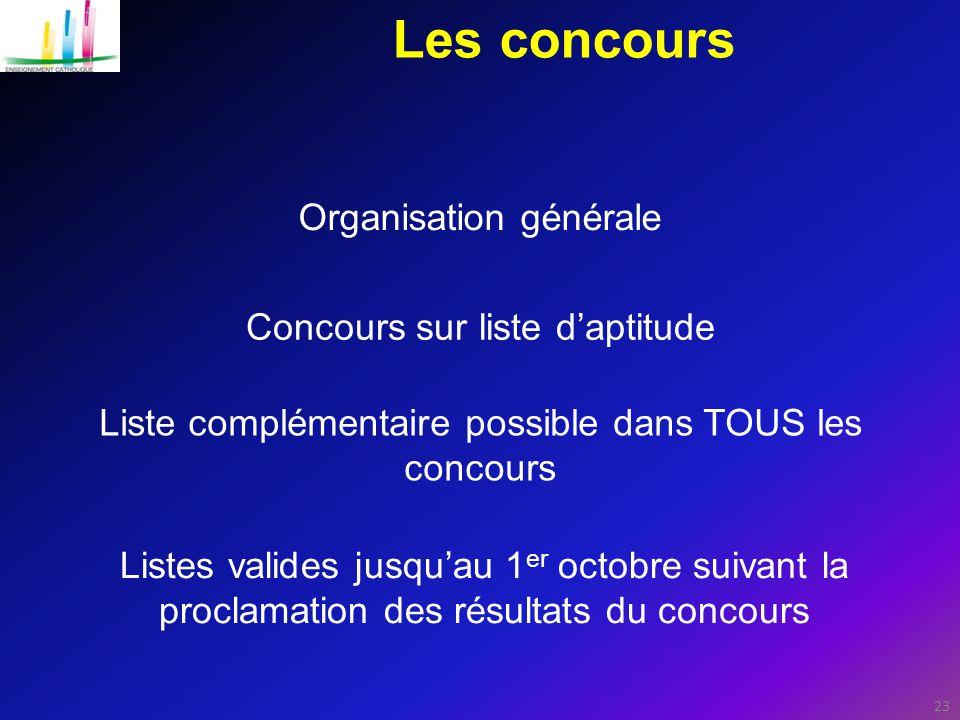 Les concours Organisation générale Concours sur liste d'aptitude